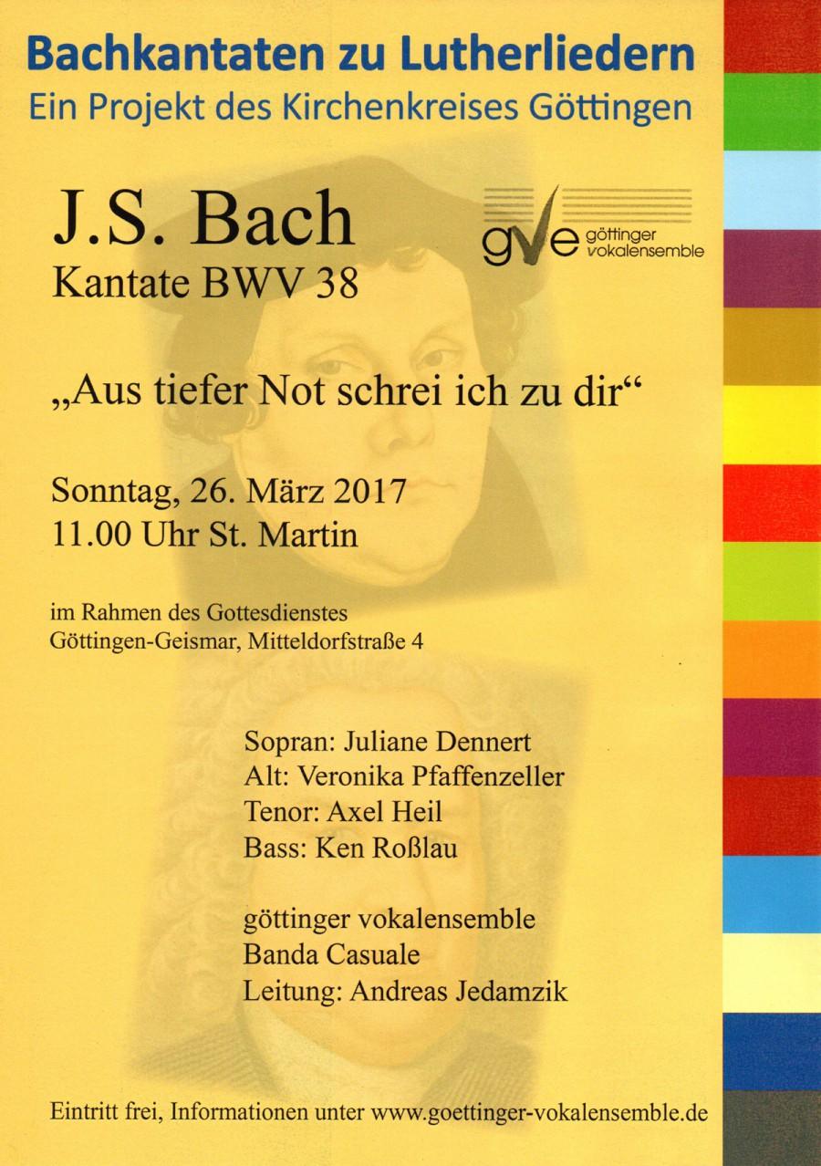 GVE: J.S. Bach: Kantate BWV 38 Aus tiefer Not schrei ich zu dir ▽